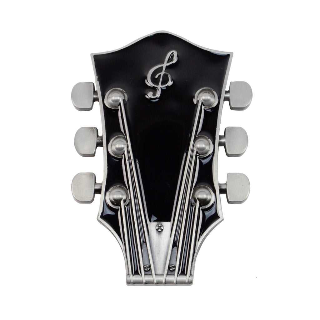 Men's/Women's Black Electric Guitar Headstock Belt Buckle