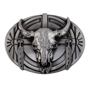 Metal Cow/Bull Head & Horns Skull Belt Buckle Men's or Women Fashion Accessory