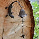 Metal Wall Mount Gecko Bell Rustic Garden Decor