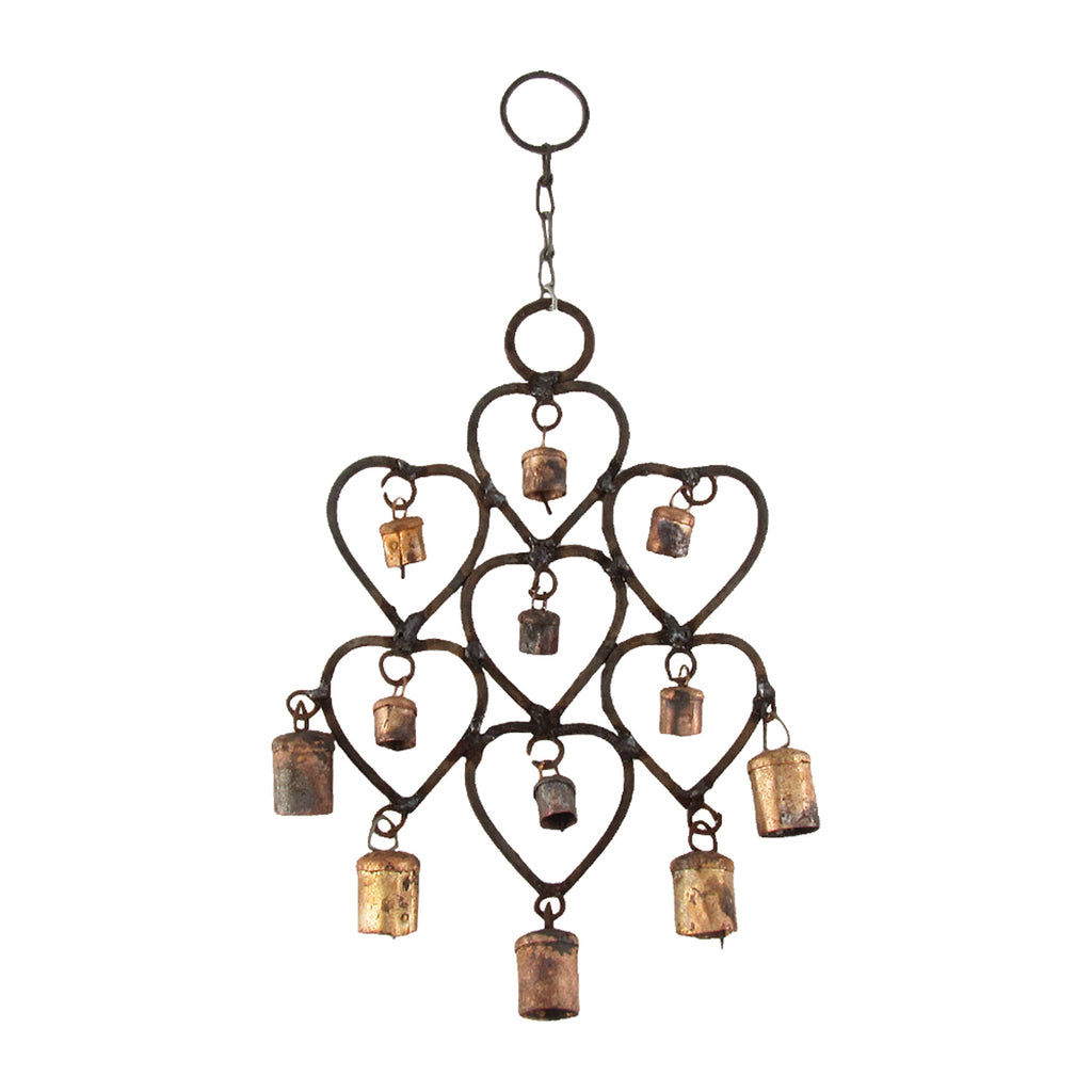 Rustic Metal 12 Bell Heart Wind Chime