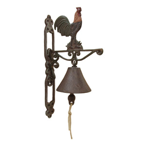 Metal Wall Mount Painted Rustic Rooster Welcome Bell
