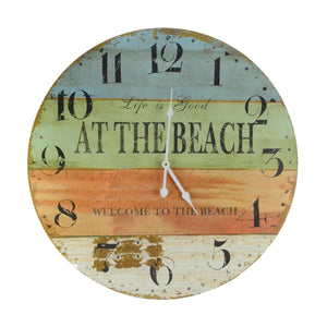 "Large 23"" Life Is Good Welcome To The Beach Wood Clock"