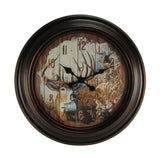 "Huge Round 23"" Deer Wall Clock"
