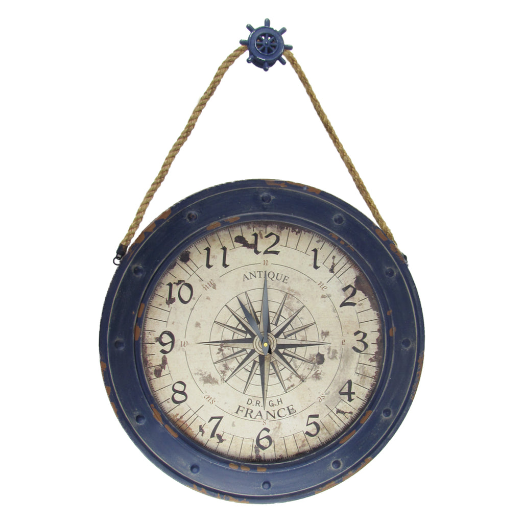 "Large 23"" Nautical Rose Compass Wall Clock"