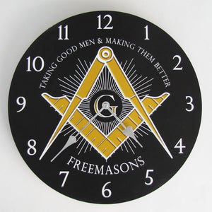 Freemason Brothers Masonic Square G & Compasses Wall Clock