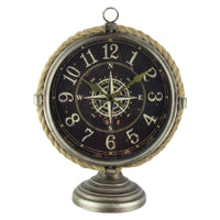 Nautical Compass Coastal Rustic Office Desk Clock