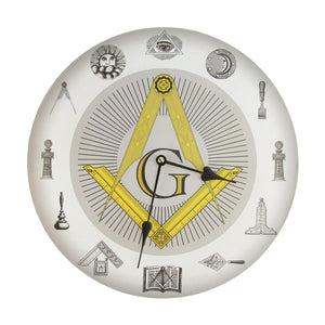 Masonic Symbols Square and Compass Freemason Wall Clock