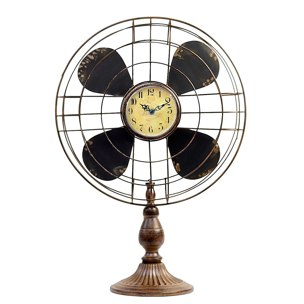 New Vintage Industrial-Style Table Fan Clock