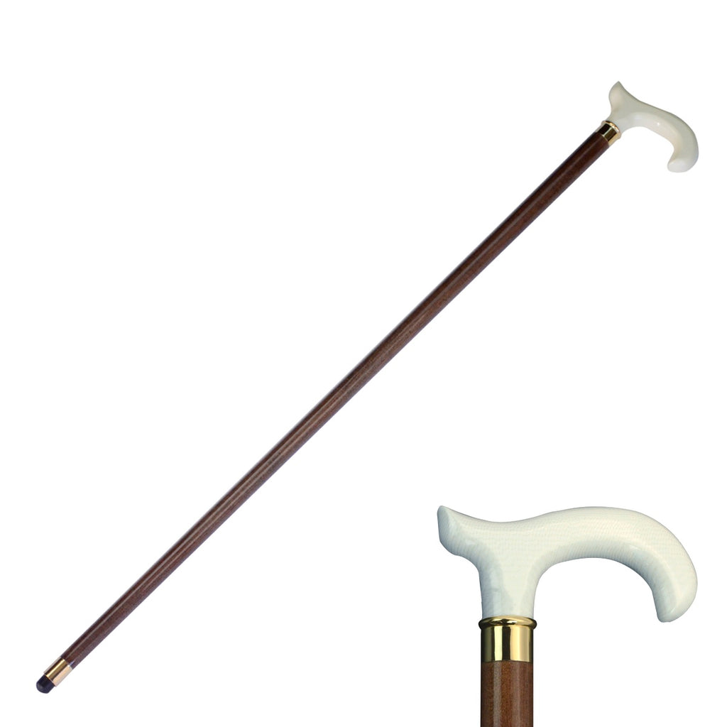 Sturdy Derby White Handle Men's Women's Walking Cane