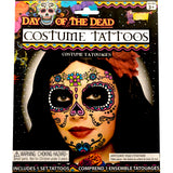 Ladies Day of the Dead Sugar Skull Face Tattoo