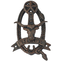 Longhorn Steer Head Welcome Door Knocker w/ Texas Star
