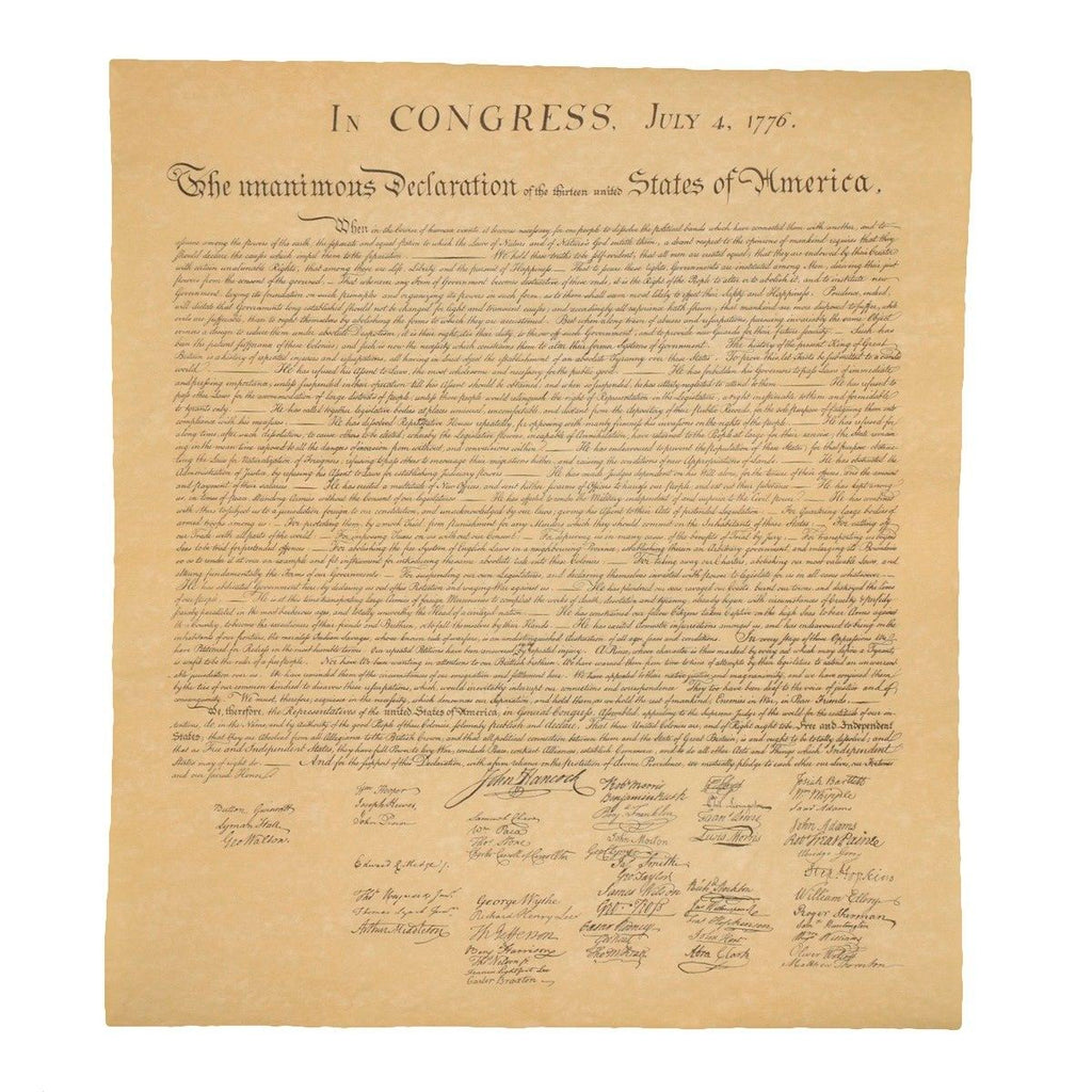 Declaration of Independence On Antiqued Parchment Paper