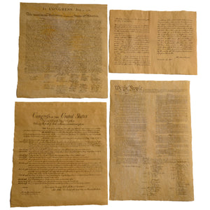 4 US Historical Document Posters on Antiqued Parchment Paper