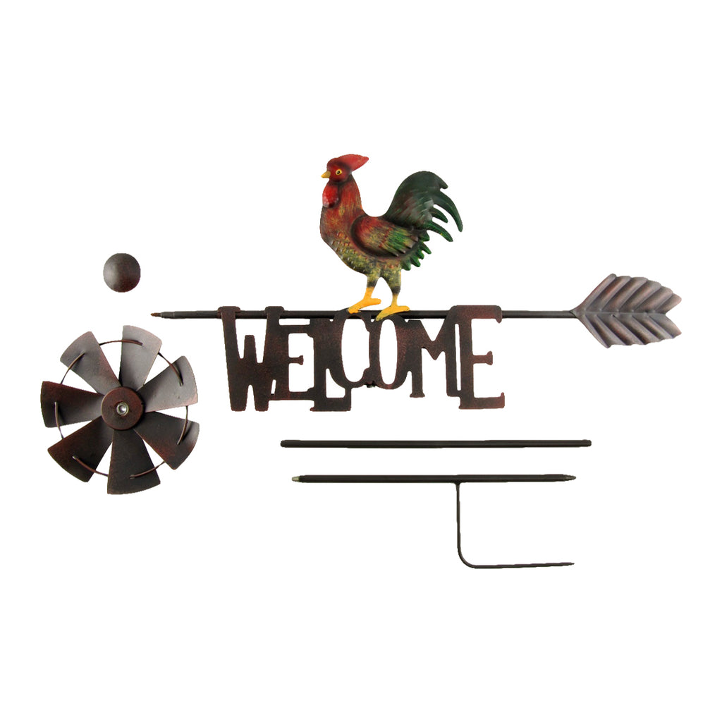 Outdoor Metal Rooster Farm Wind Spinner