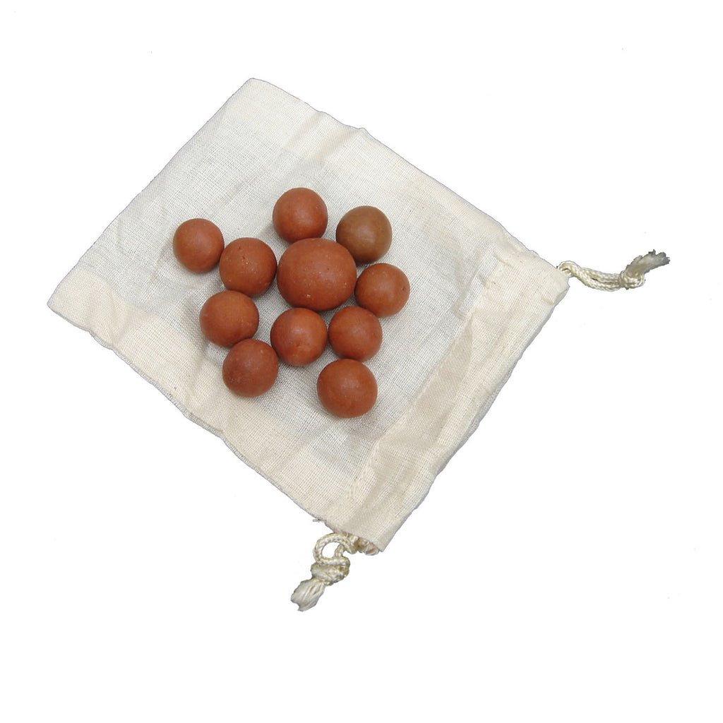 Handmade Clay Marbles & Linen Cloth Bag Game Set of 10 Antique/Vintage Style Games