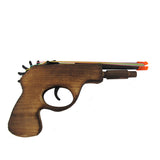 Wooden Rubber Band Toy Six Shooter Revolver