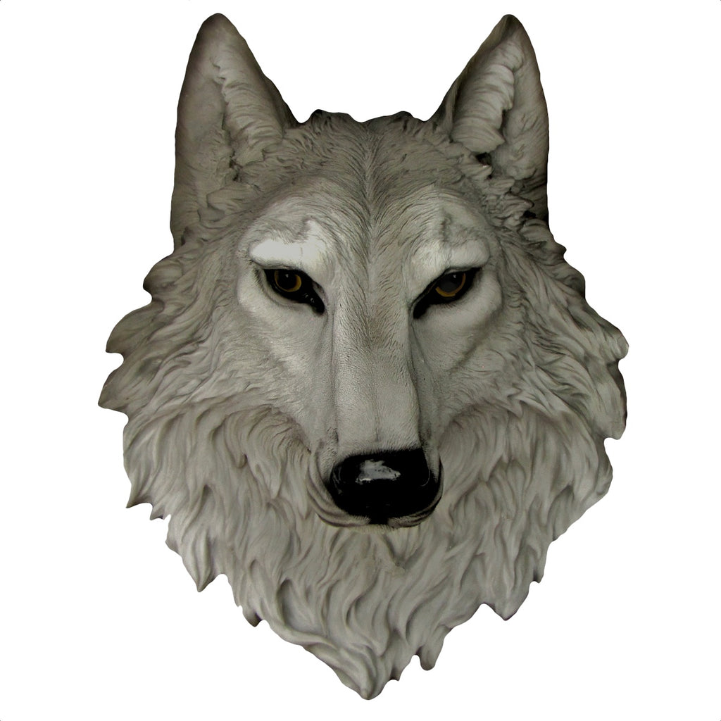 3D Life Size Gray Wolf Head Wall Mount Bust
