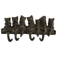 4 Metal Wall Mount Cat Tail Hooks