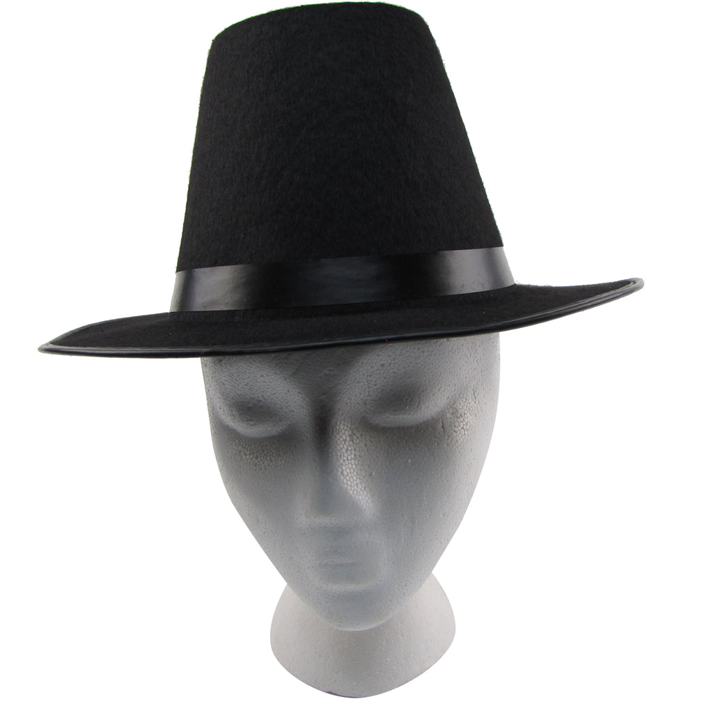 Colonial Pilgrim Tall Black Wide Brim Hat