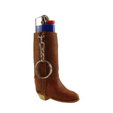 Brown Boot Key Chain Lipstick Lighter Holder Keyring Fashion Purse Charm