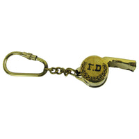 Brass Firefighter Keychain FD Emergency Rescue Whistle Keyring