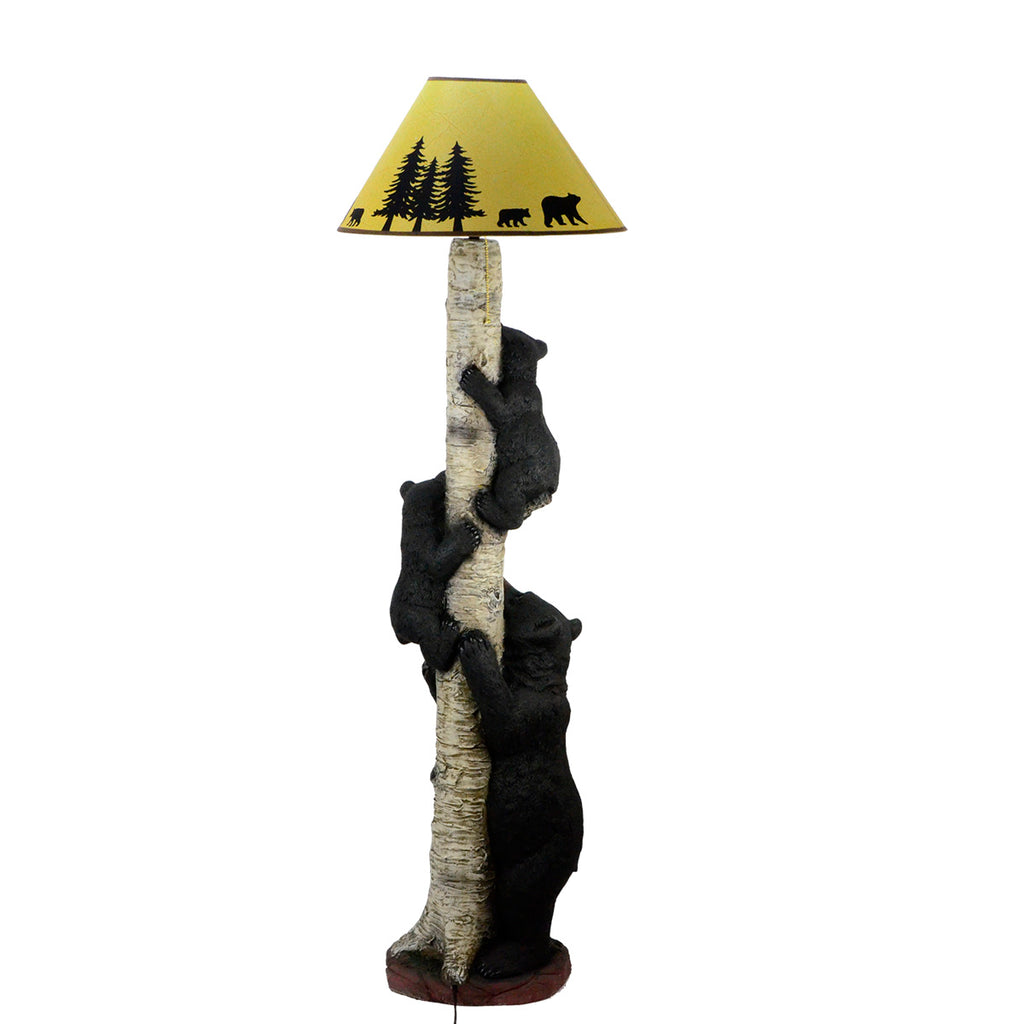 Climbing Black Bear Cub Family Rustic Cabin Home Decor Floor Lamp Treasuregurus