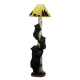 Climbing Black Bear Cub Family Rustic Cabin Home Decor Floor Lamp