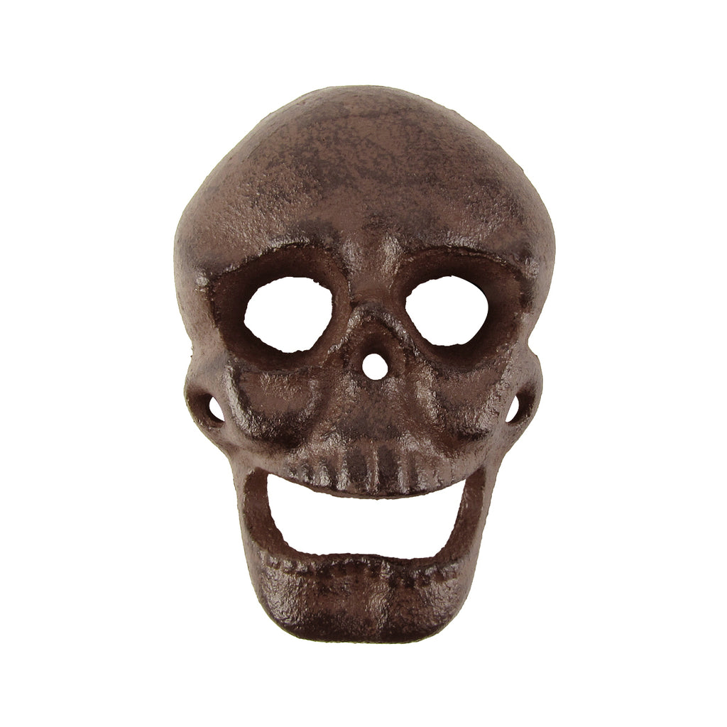 Metal Wall Mount Skeleton Head Skull Beer or Soda Bottle Cap Opener