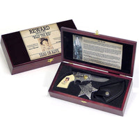 Billy The Kid Pistol Gun Knife and Old West Sheriff Badge Collectors Set