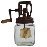 Rustic Antique Style Hand Crank Glass Butter Churn