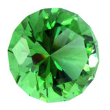 Giant 40mm Cut Glass Emerald Green Diamond Jewel Paperweight
