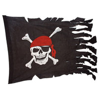 Skull and Crossbones Tattered Pirate Ship Battle Flag