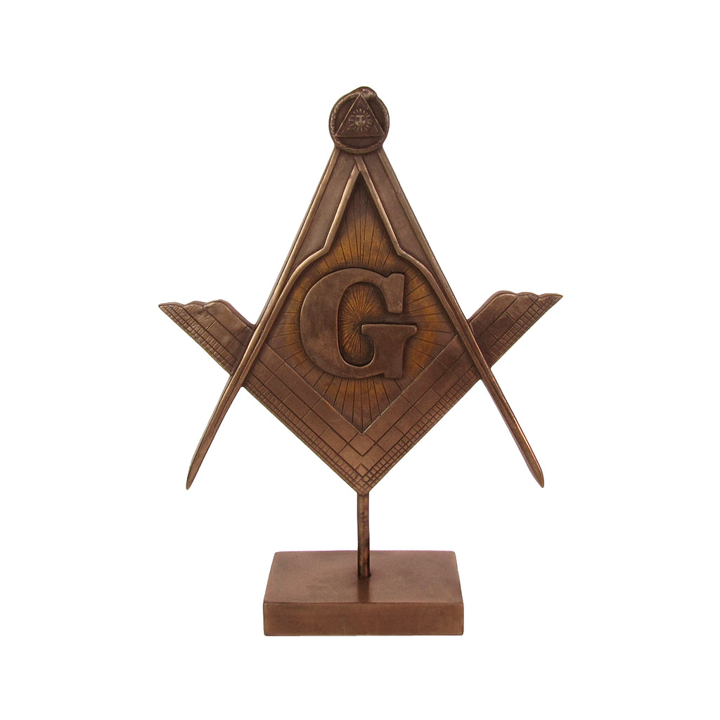 Bronze Masonic Square and Compasses G Desk Statue