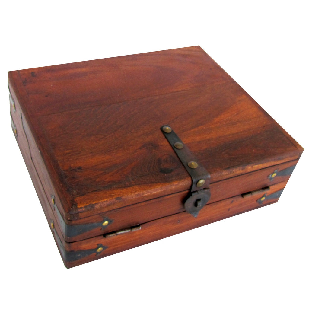 Antique Reproduction  Folding Portable Wood Document Box