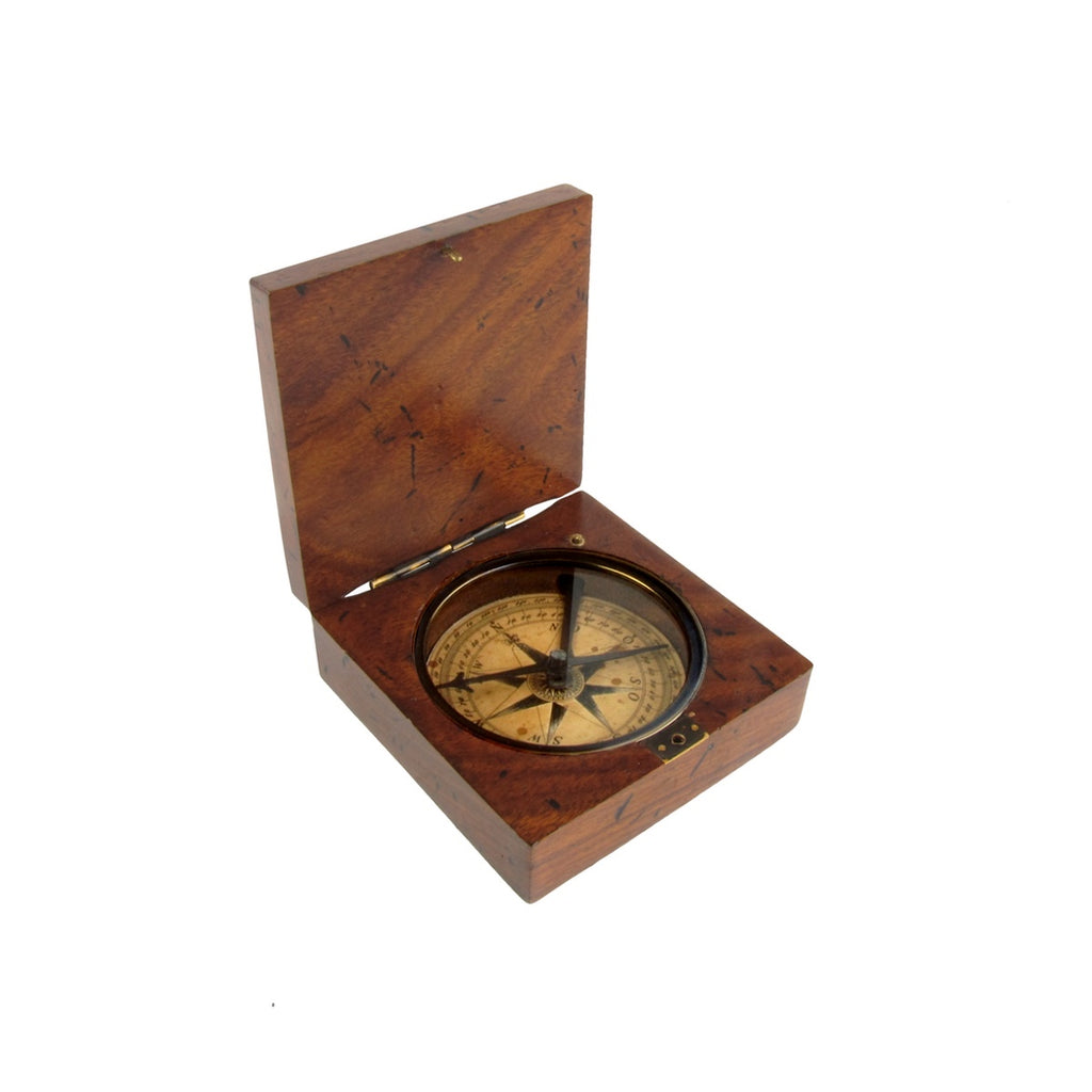 Vintage Style Old Wood Box Navigational Compass