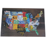 Wooden USA Shaped License Plate Map  Pub Bar Wall Art