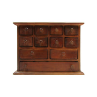 Vintage Walnut Wood Apothecary Utility Chest