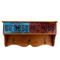 Auto License Plate Coat/Hat Rack
