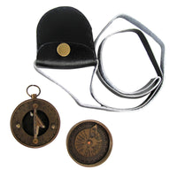 Solid Brass Nautical Pocket Sundial Compass with Cover and Leather Case