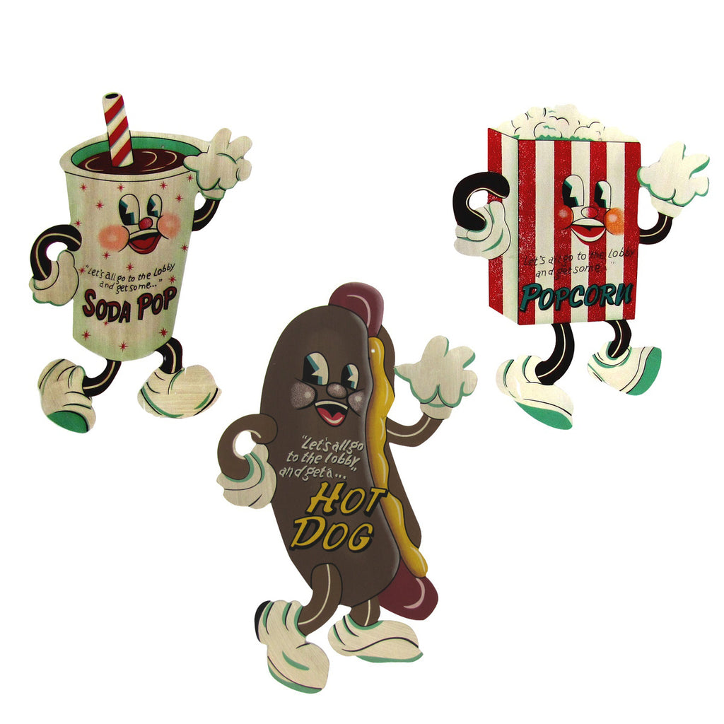 Set of 3 Dancing Snacks Popcorn, Hot Dog, and Soda Pop Metal signs