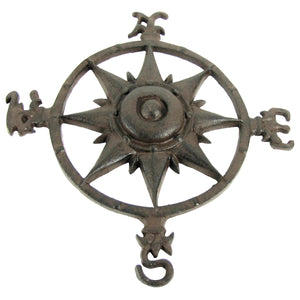 Rustic Cast Iron Rose Compass Nautical Wall Decor