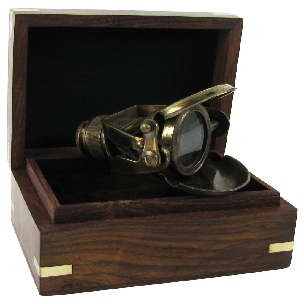 Solid Brass Traveling Telescope Monocular Set w/ Wood Box