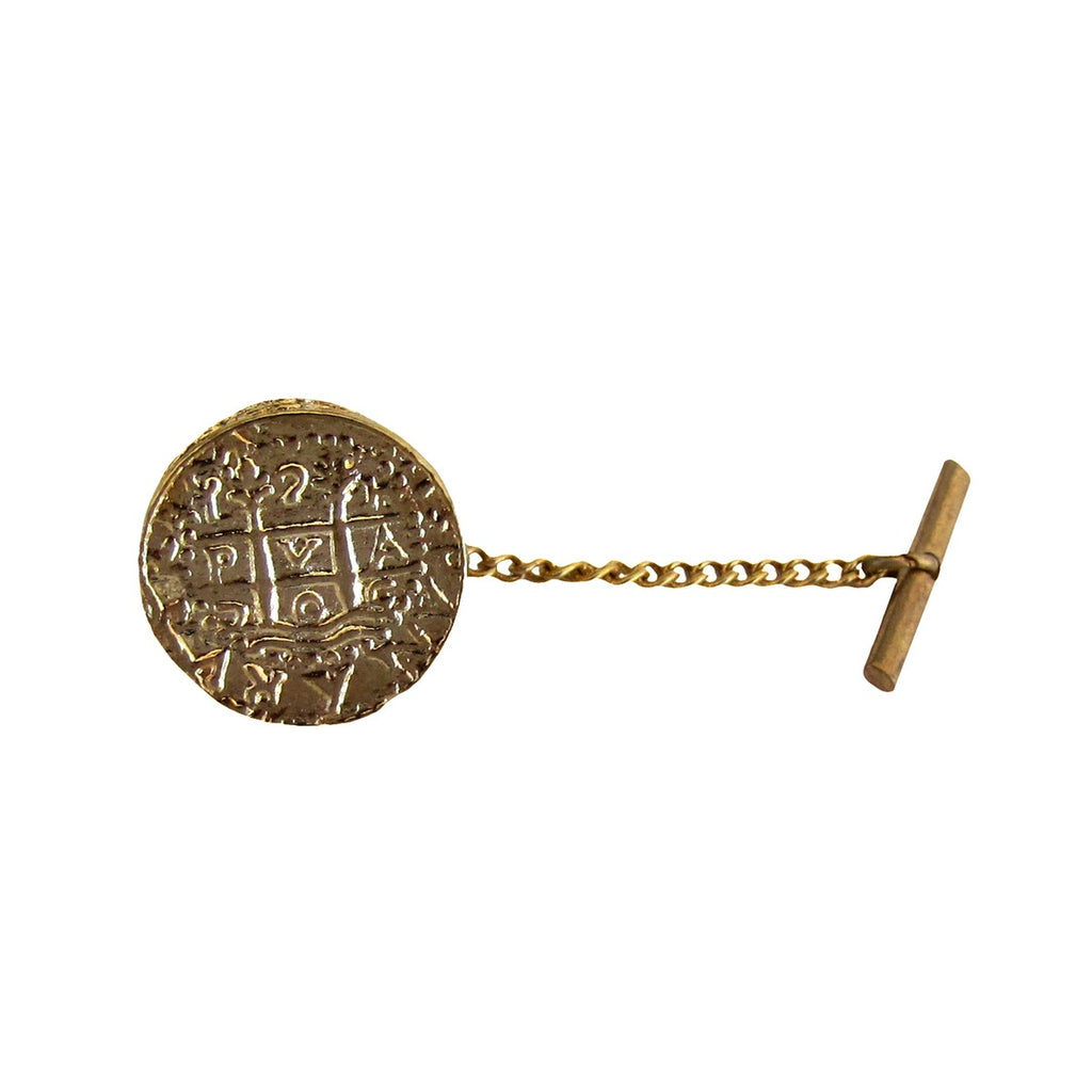 Men's Pirate Accessory Pin Spanish Gold Tie Tac Replica Doubloon Coin