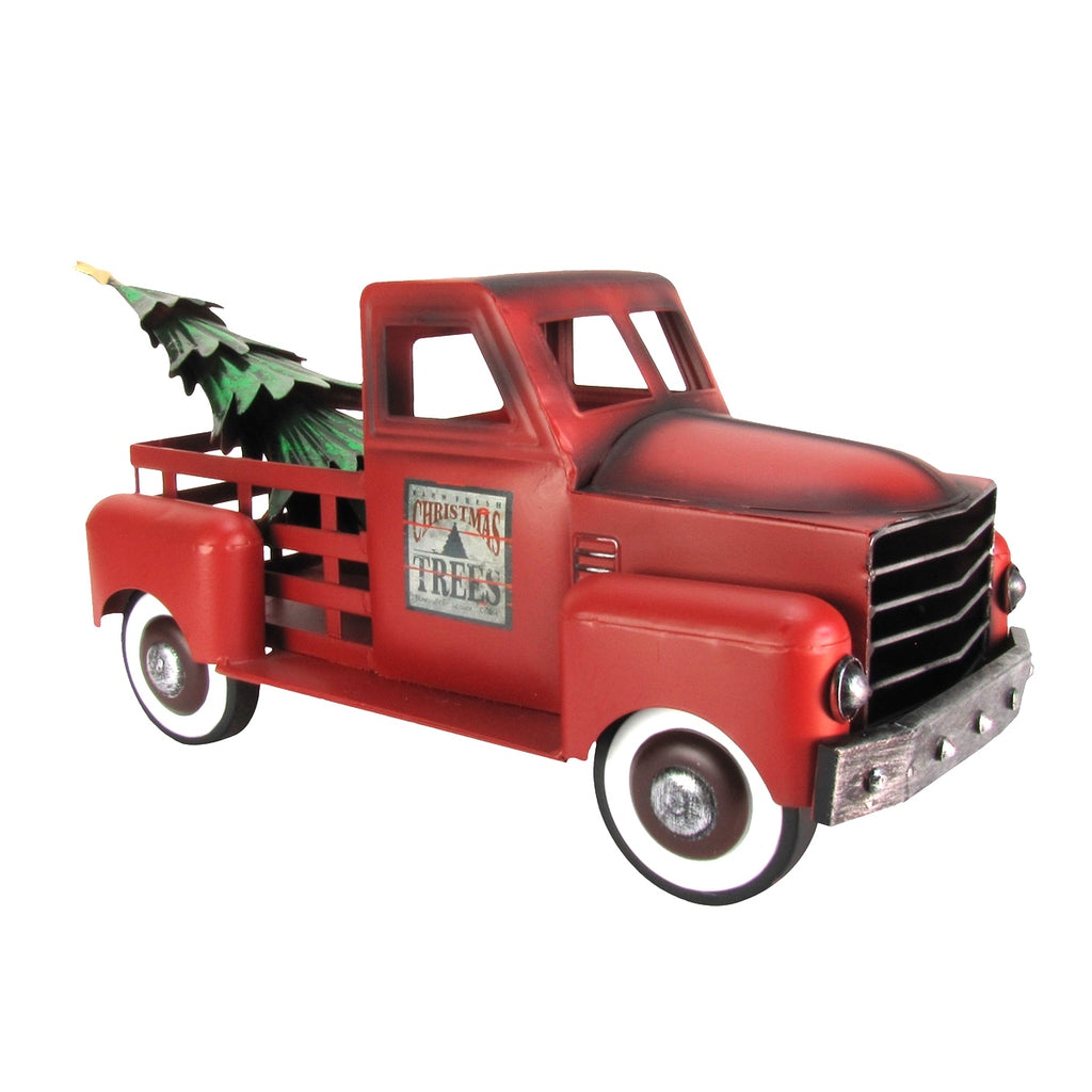 red metal christmas tree farm pickup truck decoration
