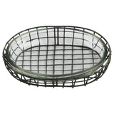 Primitive Style Wire Metal & Glass Oval Bathroom Soap Dish