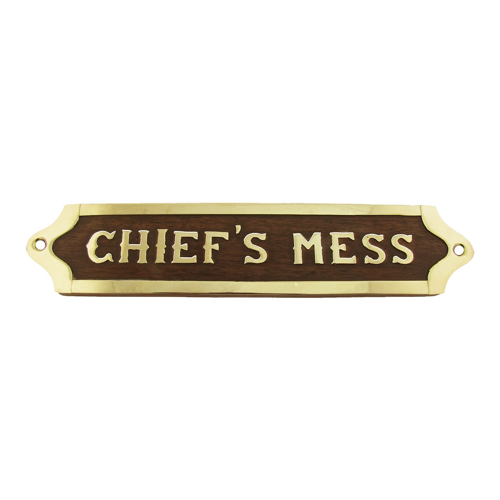 Chiefs Mess US Navy Ships Brass Door Plaque
