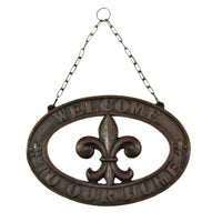 Cast Iron Fleur De Lis Welcome Sign Rustic Home Decor