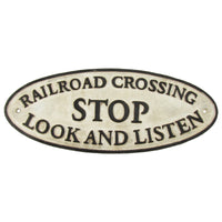 Antique Cast Iron Railroad Crossing Train Sign