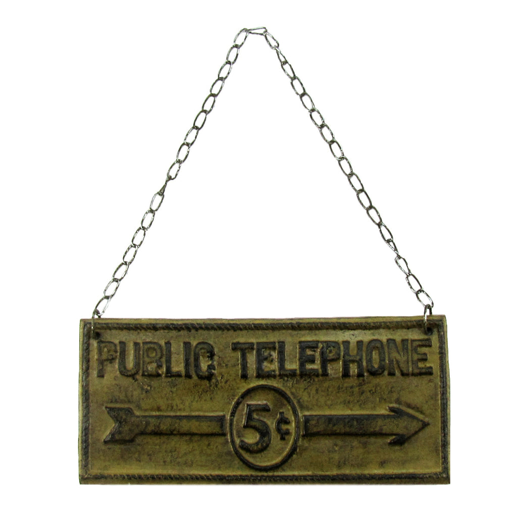 Rustic Cast Iron Public Phone Wall Sign