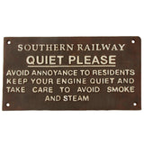 Antique Metal Quiet Please Engineer Train Sign